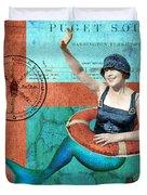 Puget Sound Mermaid  Duvet Cover