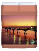 Puget Sound Olympic Mountains Fishing Pier Duvet Cover