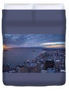 Puget Sound Sunset Illumination Duvet Cover