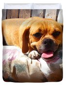 Puggle Lounging Duvet Cover