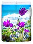 Pulsatilla Vulgaris Flowers Duvet Cover
