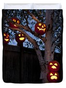 Pumpkin Escape Over Fence Duvet Cover