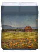Pumpkin Field Moon Shack Duvet Cover