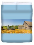 Pumpkin Patch Farm House With Halloween Decoration Duvet Cover