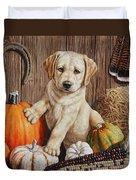 Pumpkin Puppy Duvet Cover