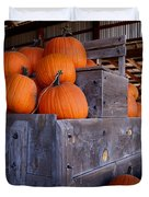 Pumpkins On The Wagon Duvet Cover by Kerri Mortenson