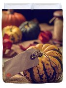 Pumpkins With Label Duvet Cover