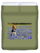 Pup In The Bluebonnets Duvet Cover