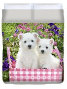 Puppies In A Pink Basket Duvet Cover