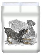 Puppy Love - Doberman Pinscher Pup - Color Tinted Duvet Cover