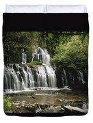 Purakaunui Falls And Tropical Duvet Cover