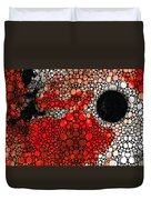 Pure Passion 2 - Stone Rock'd Red And Black Art Painting Duvet Cover by Sharon Cummings
