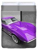 Purple 1968 Corvette C3 From Above Duvet Cover