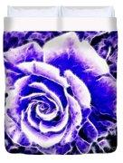 Purple And Blue Rose Expressive Brushstrokes Duvet Cover