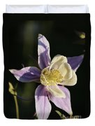 Purple And Cream Columbine Flower Duvet Cover