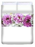 purple and mauve Flower frame on white  Duvet Cover