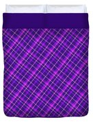Purple And Pink Diagonal Plaid Fabric Background Duvet Cover