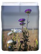 Purple And White Flowers In The Sun Duvet Cover