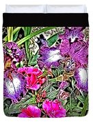 Purple And White Irises And Pink Flowers Duvet Cover