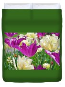 Purple And White Tulips Duvet Cover
