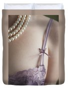 Purple Bra And Pearl Necklace Duvet Cover by Lee Avison