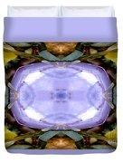 Purple Clam Shell Mandala Yantra Duvet Cover by Marie Jamieson