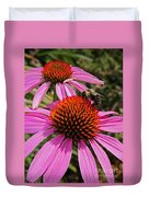 Purple Cone Flower With Bee Duvet Cover
