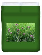 Purple Flowers And Grasses Duvet Cover