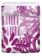 Purple Garden - Contemporary Abstract Watercolor Painting Duvet Cover