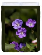 Purple Geranium Flowers Duvet Cover