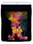Purple Gold Irises  Duvet Cover