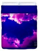 Purple Heart And Pink Clouds Duvet Cover
