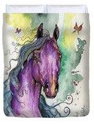 Purple Horse Duvet Cover by Angel  Tarantella
