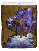 Purple Iris Gold Leaf Duvet Cover