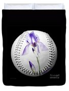 Purple Iris High Key Baseball Square Duvet Cover by Andee Design
