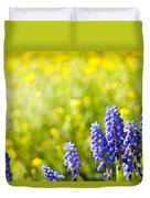 Blue Muscari Mill Bunches Of Grapes Close-up  Duvet Cover