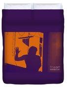 Purple Orange Figure Shadow Duvet Cover
