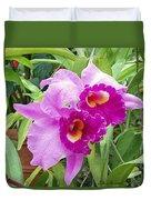 Purple Cattleya Orchids Duvet Cover