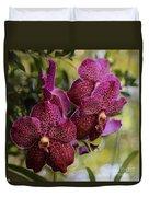 Purple Orchids With Bokeh Duvet Cover
