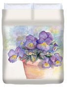 Purple Pansies Duvet Cover