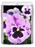 Purple Pansy Close Up - Digital Paint Duvet Cover