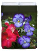 Purple Pansy Flowers By Line Gagne Duvet Cover