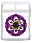 Purple Pansy II Flower Mandala White Duvet Cover