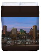 Purple Sky Above Downtown Baltimore Duvet Cover