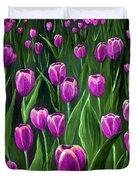 Purple Tulip Field Duvet Cover