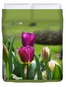 Purple Tulips Garden Art Print Tulip Flowers Duvet Cover