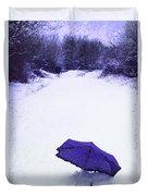 Purple Umbrella Duvet Cover by Amanda Elwell