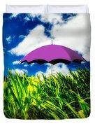 Purple Umbrella In A Field Of Corn Duvet Cover by Bob Orsillo