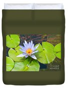 Purple Water Lily In Pond. Duvet Cover
