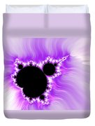 Purple White And Black Mandelbrot Set Digital Art Duvet Cover
